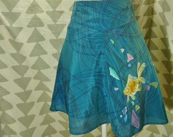 Goldfish Skirt - Hand Painted Clothing - Wearable Artwork - modern swirl pattern skater blue turquoise painting