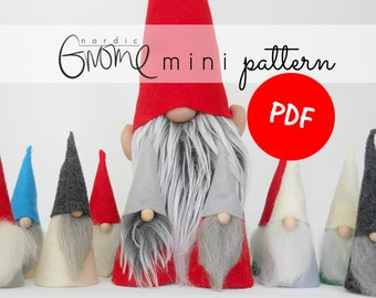 Gnome Pattern PDF for Scandinavian mini Tomte ,Digital Download, Tutorial, Tomte, Tomten, Nisse, Santa by Nordic Gnome