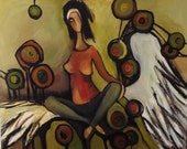 Oil painting with an angel. Original one-of-a-kind oil painting  .Ready to ship.
