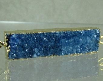 Blue drusy druzy quartz bar looped pendant gold