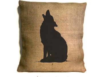 Howling Wolf Pillow, Wolf Pillow, Rustic Home Decor, Cabin Decor, Wolf Silhouette, Wolf Decor, Wolf Art, Hunting Cabin Decor, Wolf Gifts