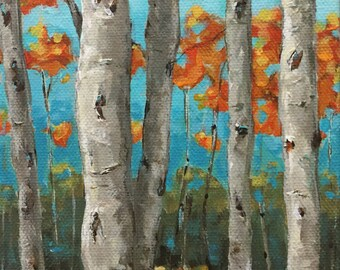 AUTUMN BIRCHES An Original Painting by Artist Beth Capogrossi, Birch Tree Painting