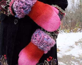 Pink gloves Felt mittens Pink mittens Alpaca gloves Knit mittens Winter gloves Warm mittens Gift for women Wool gloves Warm gloves