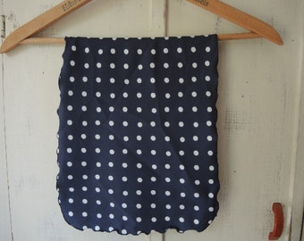 Vintage 1970s scarf polyester gray and white polka dot  11 x 52 inches