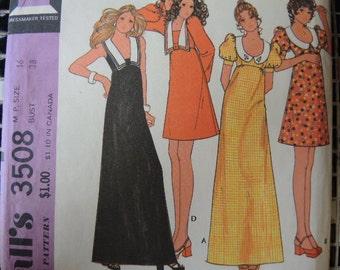 vintage 1970s McCalls sewing pattern 3508 misses empire waist dress uncut size 16