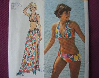 vintage 1970s Simplicity sewing pattern 5644 uncut super jiffy bikini and wrap skirt size 12-14