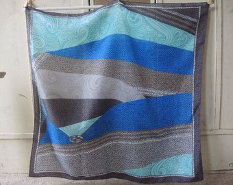 Vintage 1980s polyester scarf abstract blues 30 x 30 inches