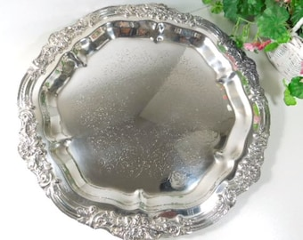 Vintage Silver Plate Serving Tray, Ornate Silver Tray by F. B. Rogers 6734, home entertaining, kitchenwre, housewares