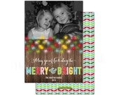 Merry & Bright Holiday Photo Card   Christmas or Holiday Wording   Lights   Printable OR Professionally Printed   5x7