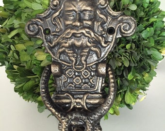Cast Iron Neptune Poseidon Man God Door Knocker
