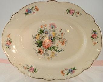 Vintage Homer Laughlin Oval Platter Rare Rose Floral Serving Dish Shabby Cottage Chic M46N8 Vintage Wedding