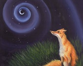 The Fox - Limited Edition Print picture of a moon gazing fox, Framed or Unframed