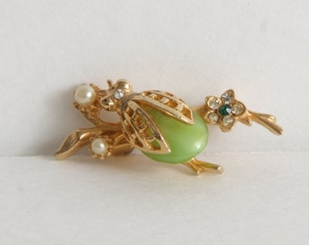 Vintage 60's Insect Bug Fly Beetle Green Brooch