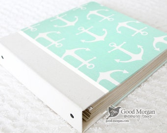 0 to 12 months Baby Memory Book - Mint Anchors