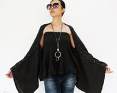 NO.141 Black Double Cotton Gauze Shrug, Full Buttons Scarf, Crinkle Cotton Scarf