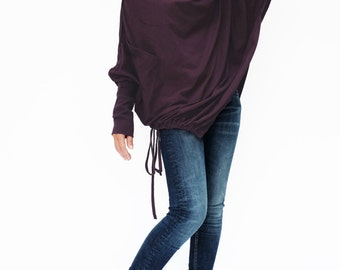NO.59 Plum Cotton Jersey  Batwing Tunic, Loose Asymmetrical  Sweater, Women's Top