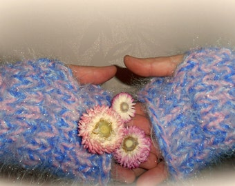 Chunky knit arm warmers, pixie sparkle,pixie dust gloves, fingerless gloves, sparkling glittering gloves