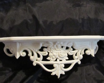 All White Ornate WALL SHELF/ Bed Crown~Rose Bouquet Center~Hand Painted~Thick Plastic Material~Shabby Chic~Cottage~Romantic Home Decor