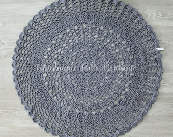 "Grey Round Cotton/Linen Crochet Doily Rug 34"". House warming Gift. Grey rug."