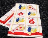 Kitchen Towel, Kitchen Dish Towel, Kitchen linens, Retro Towel, Vintage towel, Retro decor, 1960s, 28x16, Towel, Cotton Towel