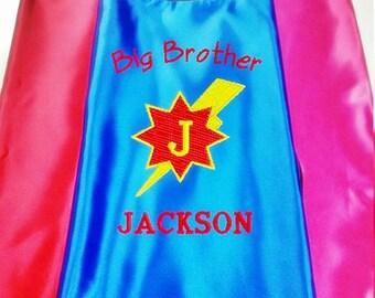 Superhero cape  Kid's  cape,   Super Hero Cape Big Brother cape Custom Embroidered   Personalized