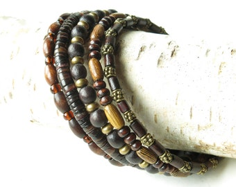 Stacked bead bracelets - earthy brown wood, shell, glass & antiqued brass beads
