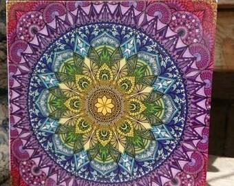 Rainbow mandala square greeting card - Sophie nina