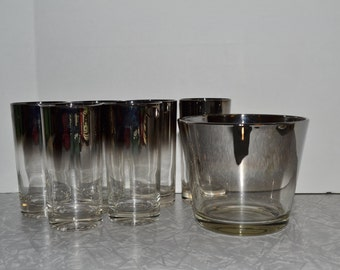 Dorothy Thorpe Silver Ice Bucket Glass Set of 7 ~ Mid Century Barware ~ Silver Ice Bucket ~ Epsteam