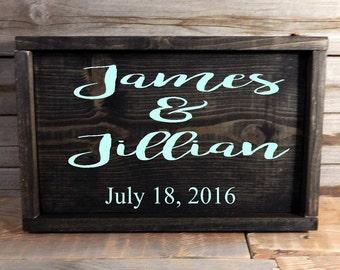Wedding sign with couples names... Wedding gift... Newlyweds..