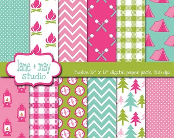 digital scrapbook papers - pink, aqua blue and green glamping theme patterns - INSTANT DOWNLOAD
