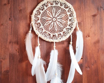 Dream Catcher - Your Wishes - With White Crochet Web and Pure White Feathers - Boho Home Decor, Nursery Mobile