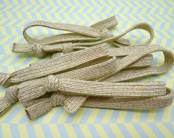 SALE--50 pcs ShinyGold  Hair Ties, No Crease Hair Tie, , Knotted No dent Hair Tie, hair tie bracelet
