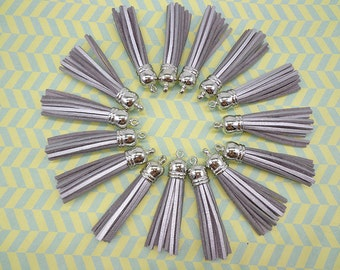 20 Pieces 60mm Silver Suede Leather Tassel With Silver color plastic Cap