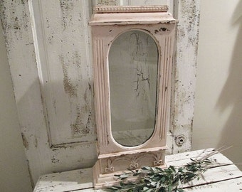 Wood and glass display case pink w/ white painted shabby cottage chic re-purposed clock case distressed wall table decor anita spero design
