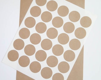 Kraft Labels | 1.5 inch Circles, Brown Kraft Stickers, Circular Labels - Ink Jet and Laser Printable, DIY Labels