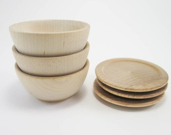 3 Small Wood Plate and Bowl Sets   Unfinished Wooden Plate and Bowl for Play Kitchen, Doll House, Waldorf or Montessori Nature Table