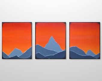 Original Triptych Mountain Range Silhouette Landscape Painting - Orange, Grey Acrylic Canvas Texture Abstract Modern Wall Art Home Decor