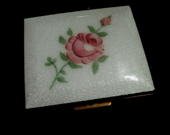 Rose Guilloche Enamel Square Powder Compact