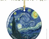 Van Gogh's Starry Night Christmas Ornament in Porcelain