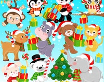 Jolly Christmas Animals Clipart Set