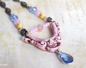Antique pink very long necklace , Baroque Rococo Victorian jewelry , Marie Antoinette style , Shopping in Paris