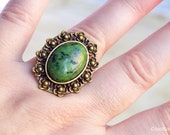 Green Jasper Ring, Bronze Statement Ring, Cocktail Ring, Baroque jewellery, gemstone jewelry, Semi Precious Ring, Birthstone, Stone Jewel