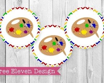 Art PRINTABLE Cupcake Toppers