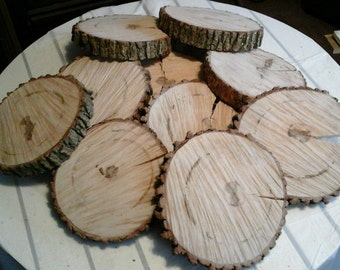 "25 Pc 7"" to 9"" Hardwood Log Slices Wood Disk Rustic Wedding Centerpiece Coaster"