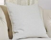 Blue Stripe Designer Pillow - Blue & Ivory Pillow Cover - Linen Striped Throw Pillow - Toss Pillow - Beach Stripe Pillow - Ethan Allen