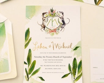 Sage and Rose Gold foil pressed custom invitation with watercolor Dalmatian crest