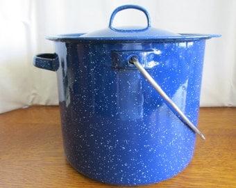Blue Speckled Enamelware Pot and Lid