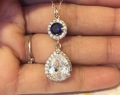 Cubic zirconia bridal tear drop necklace,Swarovski clear crystal necklace,wedding jewelry,mother of the bride groom necklace,sapphire blue