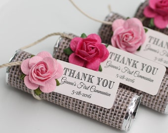 First Communion Favors, decorated mints, choose a color to match your celebration, personalized tags