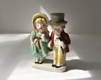 Vintage Victorian Children Figurine, Porcelain Couple Figurine in Victorian Dress, Made in Japan Porcelain Children Figurine